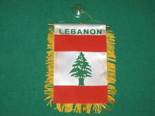 "LEBANON FLAG MINI BANNER 4""x6"" CAR WINDOW MIRROR NEW"