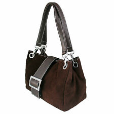 Ladies Real Italian Suede Leather Buckle Slouch Hobo Shoulder Handbag Tote Bag