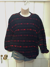 Vintage 90s Oversized Black Red Stripe Bloclk Wool Mix Jumper Grunge Slouchy
