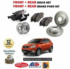 FOR SSANGYONG KORANDO 2.0 EXDI 2010-  NEW FRONT + REAR BRAKE DISC SET & PADS KIT