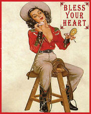 BLESS YOUR HEART 16X20 - VINTAGE COWGIRL PRINT