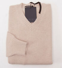 NWT $695 BERTOLO Oatmeal Beige Super 120s Wool-Cashmere V-Neck Sweater 50/M