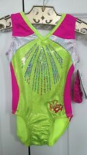 NWT GK Elite Sequin Leotard CM Child Medium Gymnastics Leo New Girls Pink