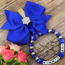 Personalised stunning pram charm in blue for baby boys with diamontee