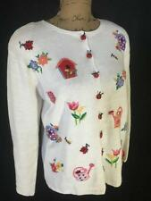 Heirloom Collectibles Ladybug flowers and birdhouse White Sweater sz S Small