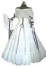 White Purple Renaissance Costume Wedding Gown Dress Corset Chemise Medieval LARP