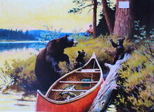 Bear Cubs Fishersmans Canoe Fish by Phillip Goodwin vintage art