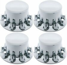 4 Chrome Plastic Semi Truck Rear Wheel Axle Hub Covers 33mm Removable Caps 10263