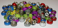 10 Wholesale Job Lot GLITTER SPARKLY BEAD Silver European Charm