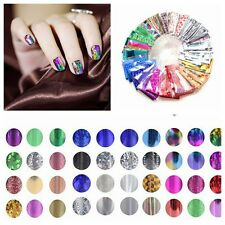 10 Foils Finger DIY Nail Art Design Wrap Sticker Decal Water Transfer Tips Decor