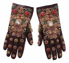 NWT $3700 DOLCE & GABBANA Brown Leather Gold Crystal Baroque Wrist Gloves 8.5/ L