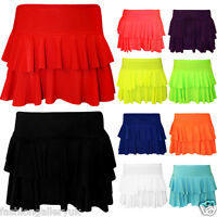 Girls Women's Rara Two Tier Frill Gym Dance Ladies Neon Plain Mini Party Skirt