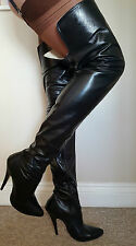 Black Matt Leather High Heeled Extra Long Thigh Length Boots inside zip UK7 EU41