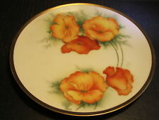 Ornate Old RS Germany Orange Poppy Flowers Decorated Porcelain Plate