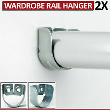 2 Rail Hanger Standard Tube Support Wardrobe Rod Socket Fitting Round Bracket