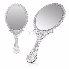 Ladies Vintage Repousse Floral Hand Held Vanity Oval Round Mirror Makeup Dresser