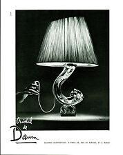 """Publicité Ancienne """" Lampe Cristal de Daum   1953 """" ( P. 26 )  P. Jamam"""