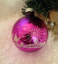 "Shiny Brite Purple 3 Wise Men North Star Stenciled Glass 3""  Large Ornament"