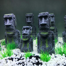 2pcs Aquarium Easter Island Statue Ornament Fish Tank Rock with Face Heads Decor