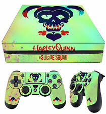 PS4 Slim Skin Harley Quinn Suicide Squad Logo + Pad Decals Vinyl New LAY FLAT