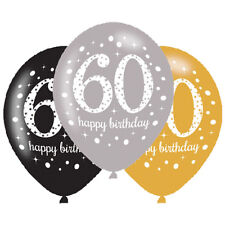 6 x 60th Birthday Balloons Black Silver Gold Party Decorations Age 60 Balloons