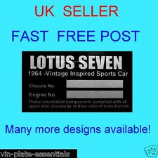 LOTUS 7 SEVEN SUPER SERIES ESPRIT EUROPA ELAN REPRO ALL-BLANK-VIN-CHASSIS-PLATES