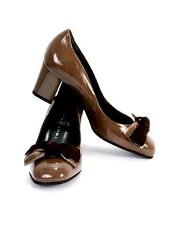 Gibellieri 3241 Taupe Patent Leather Bow Pumps 40 / US 10
