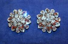Vintage D&E Juliana Domed Flower Crystal Rhinestone Clip Earrings