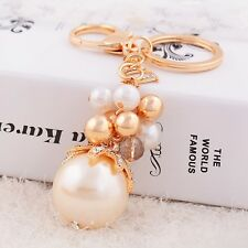 Pearl exotic key chains crystal fashion car ring purse charm pendant lady alloy