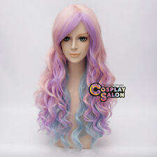 Pink Mixed Purple Blue Curly 65cm Women Anime Cosplay Halloween Hair Wig