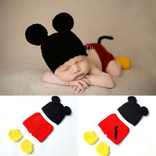Cute Baby Infant Knitted Crochet Mickey Mouse Costume Photo Photography Prop