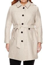 LIZ CLAIBORNE BELTED WOOL COAT - OATMEAL TWEED - PLUS SIZE 3X