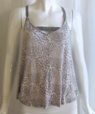 ANTHROPOLOGIE SILENCE + NOISE Grey Ivory Animal Print Crop Swing Tank Top Medium