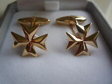 new 18ct 18k yellow gold knight of malta maltese cross cufflinks barrel style