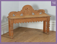 Antique English Victorian Gothic Carved Oak Hall Window Bench Seat Stool Chair
