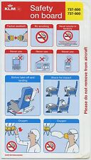KLM Boeing 737-800 900 safety card AUG2008 - good cond sc576ax