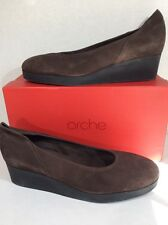 ARCHE Habba Womens Size 10 Brown Nubuck Leather Wedge Comfort Shoes ZE-413