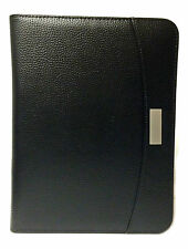 A5 Black Zipped Conference Folder Ring Binder Portfolio W/ Calculator/Pad CL9584