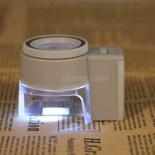 8x Adjustable Magnifier Jeweler Loupe LED Light Magnifying Glass With Scale V4Z4