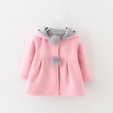 Cute Kids Girls Rabbit Ear Bunny Hooded Coat Jacket Outwear Overcoat Windbreaker