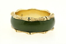 14K YELLOW GOLD BAMBOO DESIGN ETERNITY GREEN JADE RING STACKABLE BAND SZ 7.25