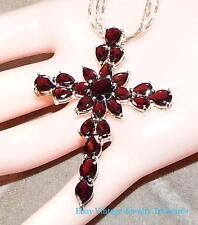 ESTATE Large Garnet Cross Pendant Sterling Silver Necklace