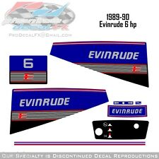 1989-90 Evinrude 6 HP Outboard Reproduction Vinyl Decals Six Horse Power