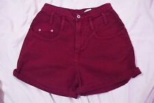 Vintage Maroon High Waisted Denim Shorts Sz: 7 Made in US