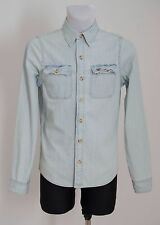 MEN HOLLISTER CASUAL SHIRT 100% COTTON DENIM LONG SLEEVED BLUE S SMALL EXC