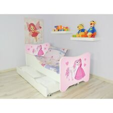 Children Bed PRINCESS, For Girls Kids with mattress 140x70cm + drawer + Pillow