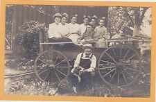 Real Photo Postcard RPPC - Women w/ Flowers in Hair Man in Overall w/ Dog