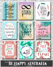 TEENAGE BEDROOM QUOTE PRINTS ON STRETCHED CANVAS set OF 3 ea13x18x2cm