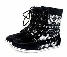 sidony-11 New Fashion Ankle Casual Lace Up Cotton Women Winter Boots Black 8