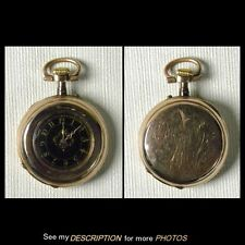 14K Gold Ladies Adolphe Huguenin Locle Pocket Watch Black Dial